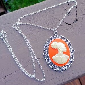 African Lady Cameo Necklace